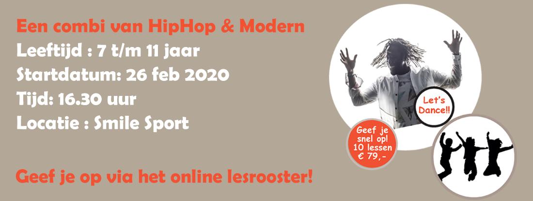 Dance 4 kids, een combinatie van HipHop en modern, start 26 februari bij Smile Sport!